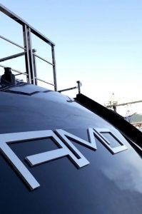 amo yacht backlit letters